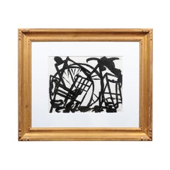 Ruth Dulman Painting, a 1973 Black and White Abstract