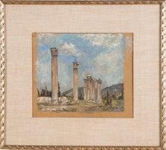 Antique Old Master Ruins Signed Original Columns Greek Landscape Oil Painting