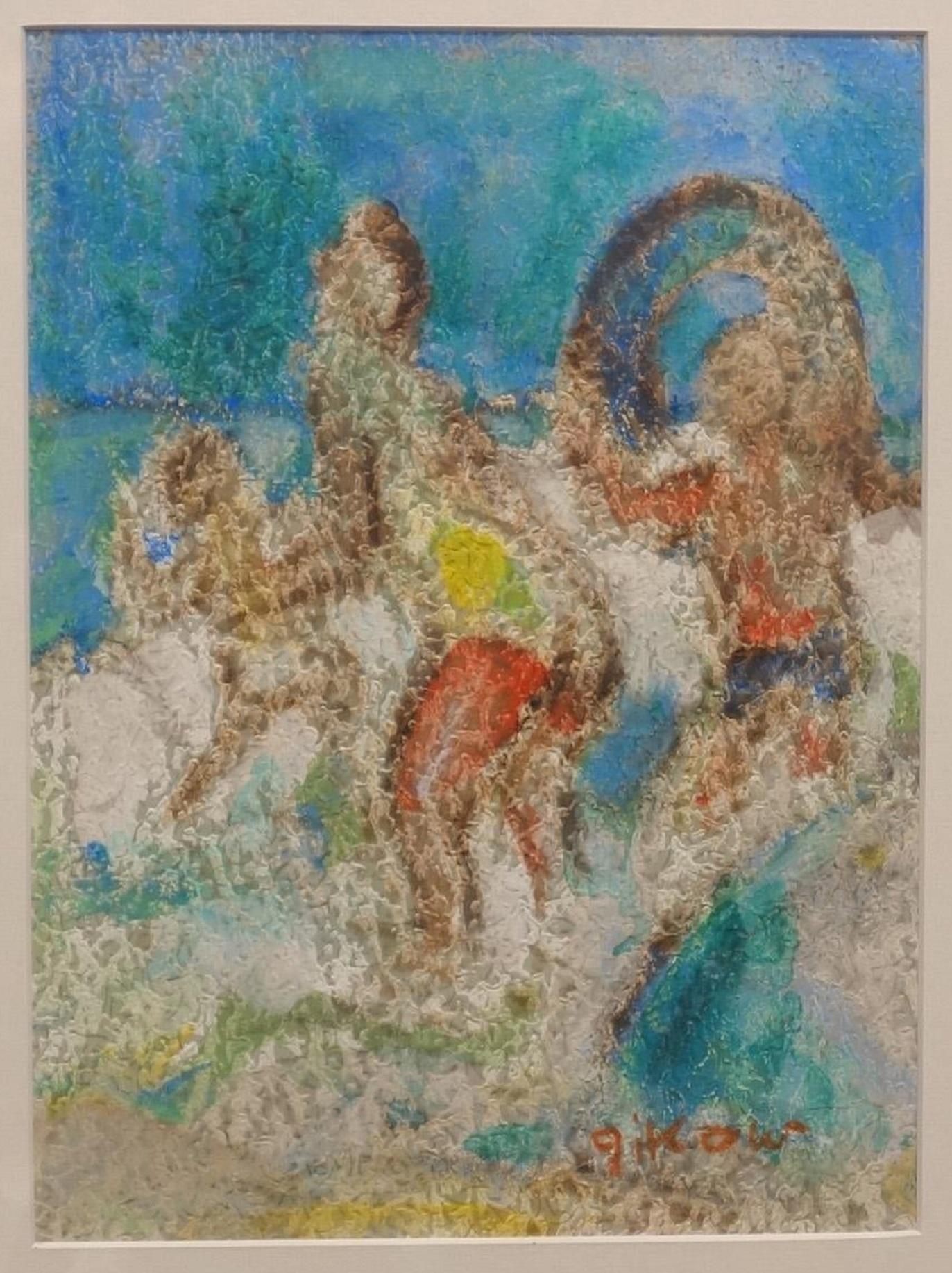 Modernist Beach Scene Painting, Playing Ball in Surf, WPA Jewish Woman Artist