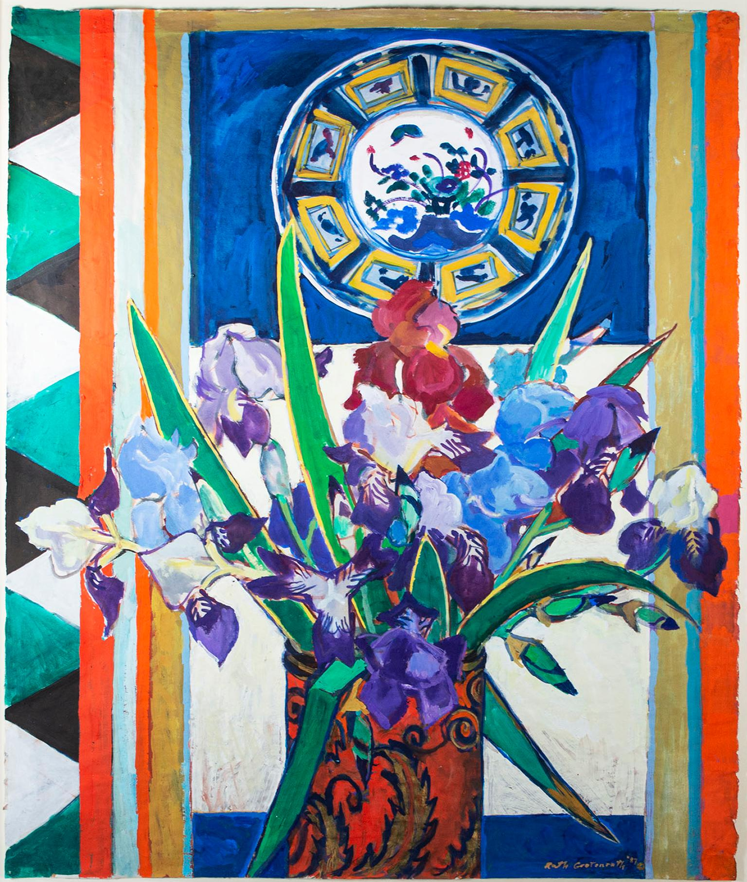 """""""Still Life with Irises,"""" signed original gouache painting by Ruth Grotenrath"""