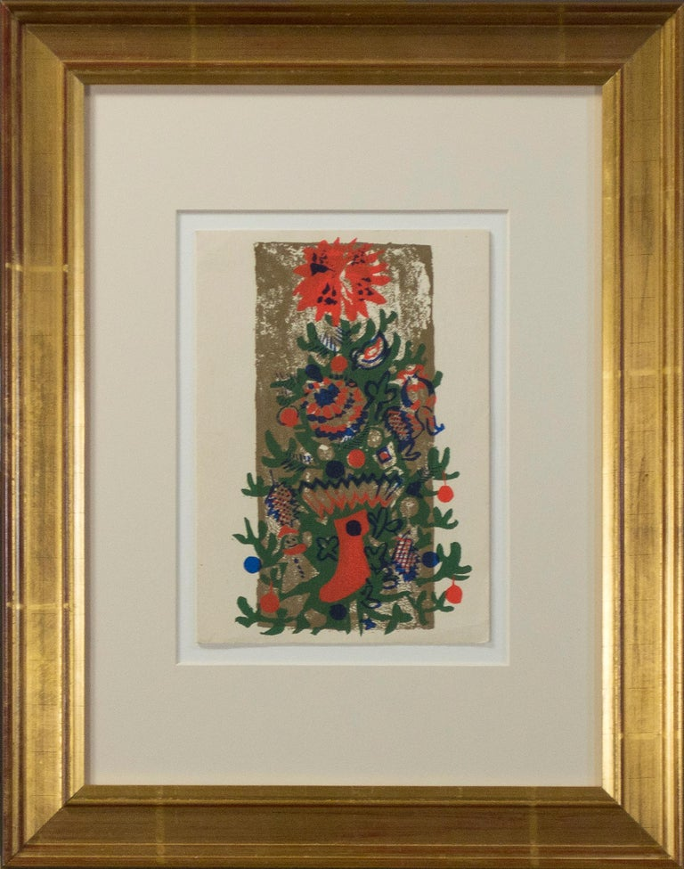 'O'Tannenbaum' original color silkscreen signed on verso, Christmas tree, winter - Print by Ruth Grotenrath