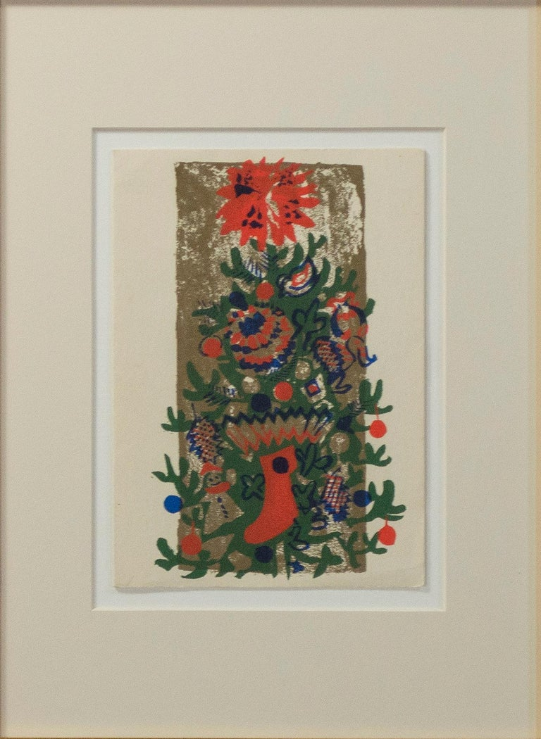 'O'Tannenbaum' original color silkscreen signed on verso, Christmas tree, winter - Expressionist Print by Ruth Grotenrath