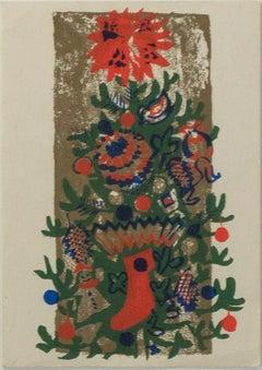 'O'Tannenbaum' original color silkscreen signed on verso, Christmas tree, winter