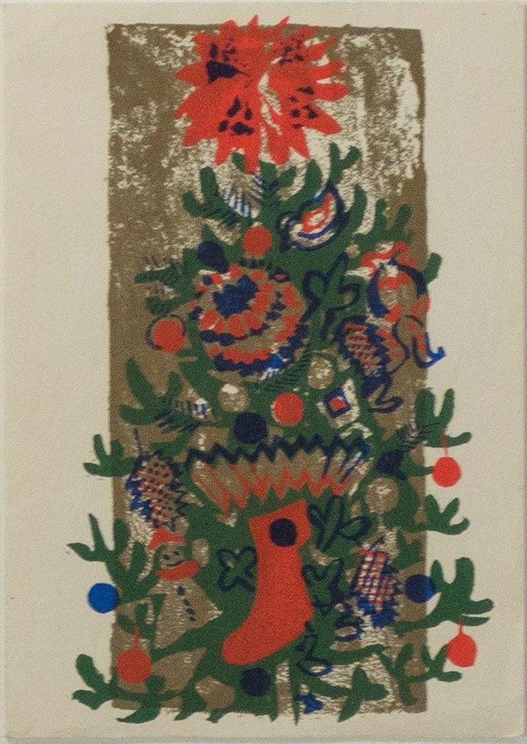 Ruth Grotenrath Interior Print - 'O'Tannenbaum' original color silkscreen signed on verso, Christmas tree, winter
