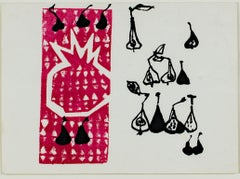 """Pear & Pomegranate,"" original color silkscreen by Ruth Grotenrath"