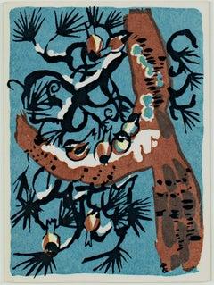 """""""Season's Good Cheer,"""" original color silkscreen by Ruth Grotenrath"""