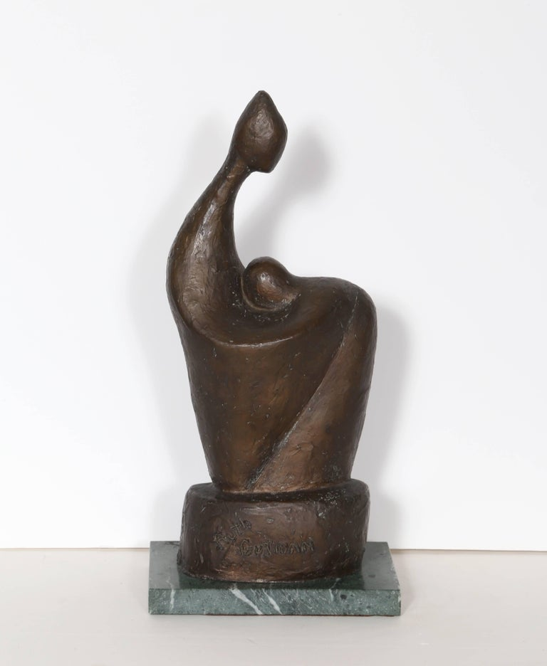 Artist: Ruth Gutman, American Title: Mother and Child Medium: Bronze sculpture, signature inscribed  Size: 14 x 6 x 3.5 in Base: .75 x 4.5 x 7.5 in