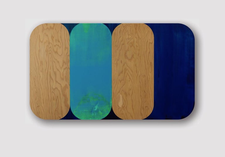 Consort, Horizontal Geometric Oblong Blue, Navy, Painting on Rounded Wood Panel - Contemporary Mixed Media Art by Ruth Hiller