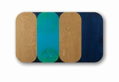 Consort, Horizontal Geometric Oblong Blue, Navy, Painting on Rounded Wood Panel