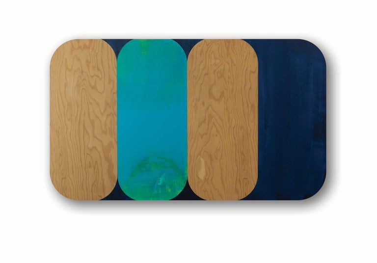 Consort, Horizontal Geometric Oblong Blue, Navy, Painting on Rounded Wood Panel - Mixed Media Art by Ruth Hiller