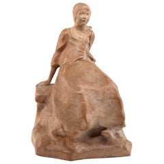 """Ruth Milles French Art Deco Terracotta Statue, """"Suzanne"""" Breton Character, 1927"""