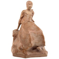 "Ruth Milles French Art Deco Terracotta Statue, ""Suzanne"" Breton Character, 1927"