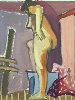 "1950s ""Backside"" Mid Century Figurative Nude Gouache Painting"