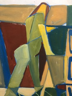 """1950s """"Shapes with Figure"""" Mid Century Cubist Nude Gouache Painting"""