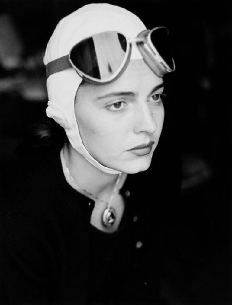Ruth Orkin Black and White Photograph - Jinx in goggles, Florence, Italy