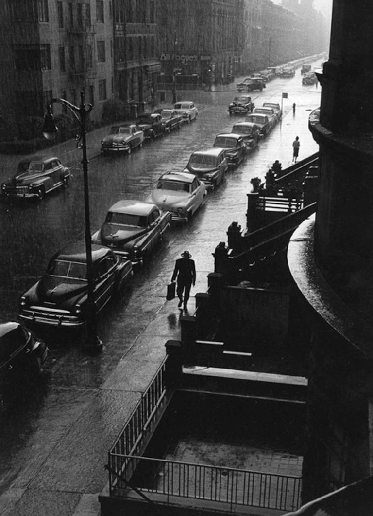 Man in Rain West 88th Street, NYC