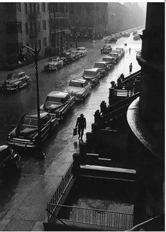 Man in Rain, New York City, gelatin silver print