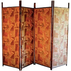 Ruth Reeves (attributed) Fabric American Deco Period Screen