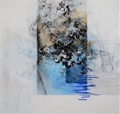 By the Water by Ruth Schleeh Blue, black,minimal abstract, contemporary painting