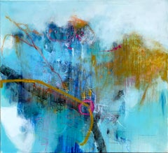 Communicatio by Ruth Schleeh- Blue minimal abstract, contemporary painting