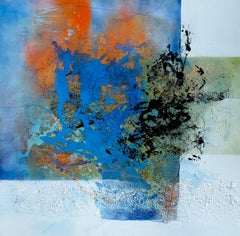 Explosive by Ruth Schleeh- Blue, black, minimal abstract, contemporary painting