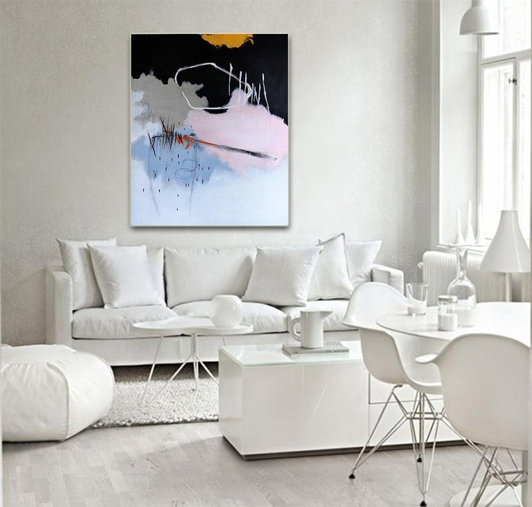 Honeysuckle Rose by Ruth Schleeh -Black minimal abstract, contemporary painting For Sale 2