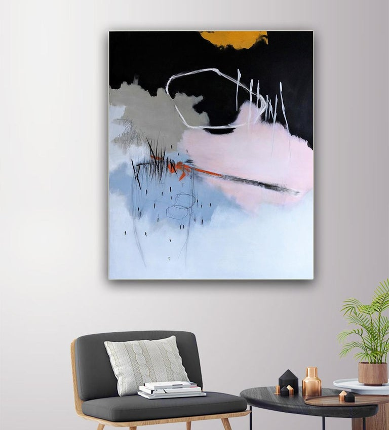 Honeysuckle Rose by Ruth Schleeh -Black minimal abstract, contemporary painting For Sale 3