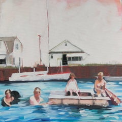 Charlie's Family Swim, figurative oil painting of family in lake