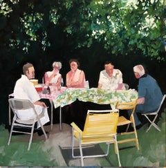 Summer Supper, figurative oil painting on panel of family picnic