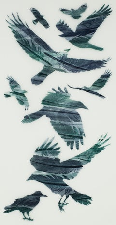 A Loosely Woven Flock of Rooks - original print feathers stencil Japanese paper