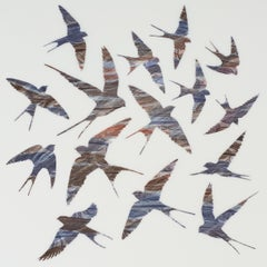 As Swift as Swallows Fly - original print feathers stencil Japanese paper