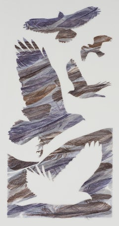 Ascend and Glide - contemporary monoprint washi paper purple birds