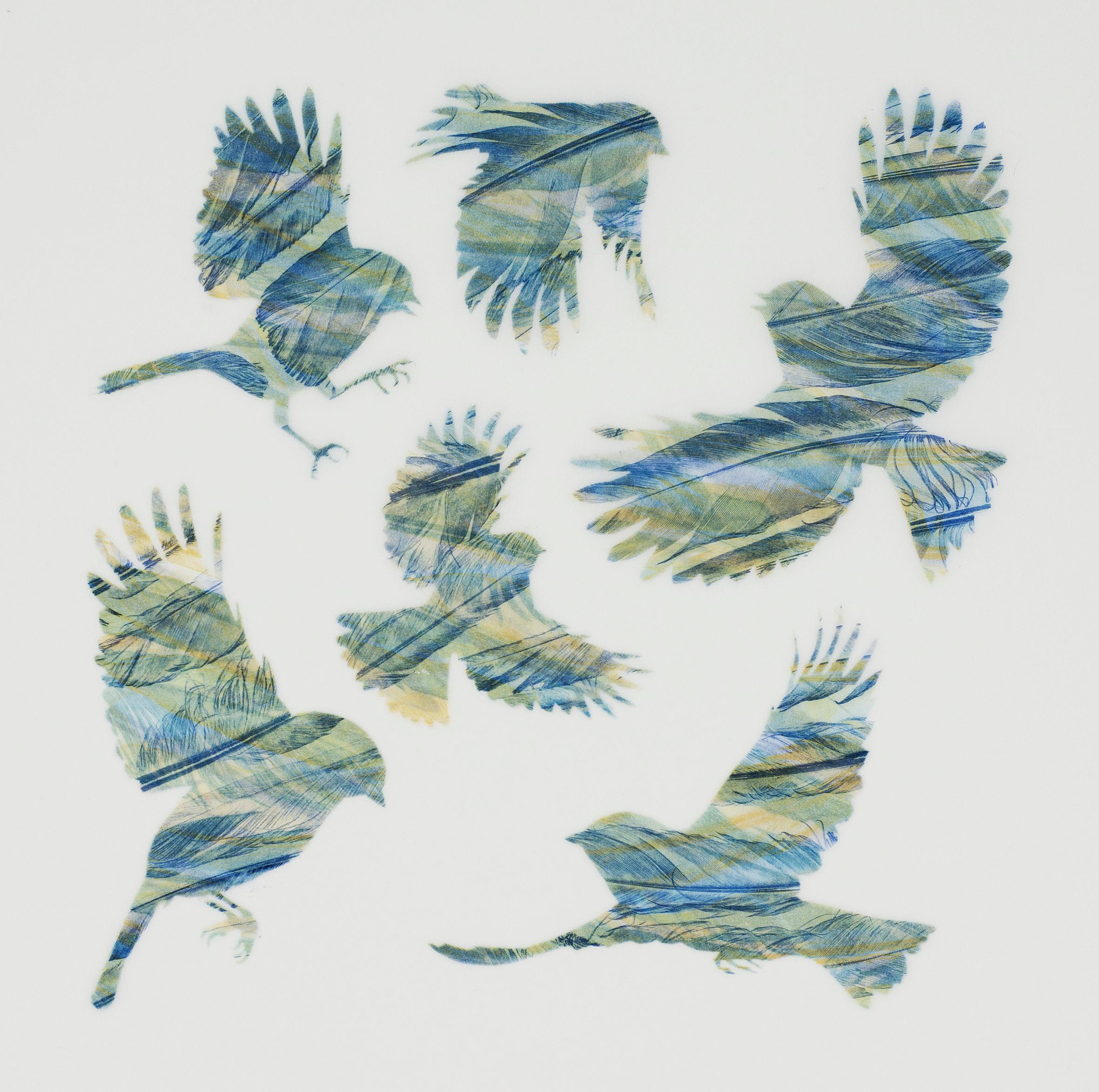 Yellow and Blue - original print feathers stencil Japanese paper
