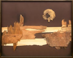 Bridge to Nowhere, Abstract Oil Painting with Wood Collage, Brown Tones