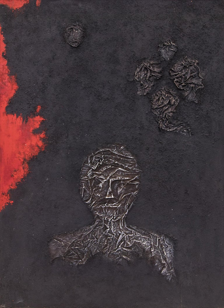 The Demolished Man, vintage circa 1960 semi abstract painting with a bust of a man within an abstract background, painted in black, white and red by Denver woman artist, Ruth Todd (1909-2006).  From the artist's