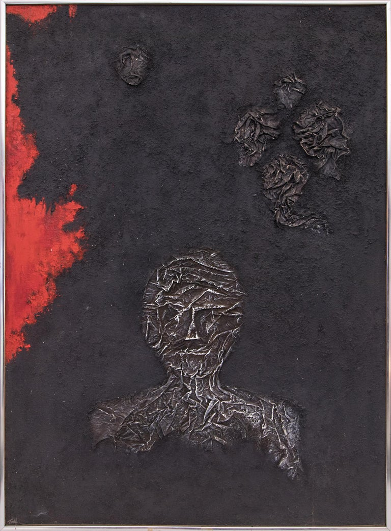 Ruth Todd Figurative Painting - The Demolished Man (Universal Landscape Series), Mixed Media Painting, Black Red