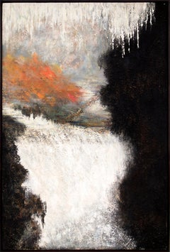The Seventh Day (Large Abstract Painting in White, Black/Brown, Orange, Yellow)