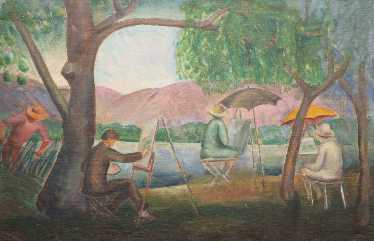 'Painting by the River', early San Diego Modernist, Pasadena Art Institute