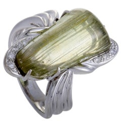 Rutilated Lemon Quartz Diamond White Gold Ring