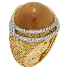 Rutilated Quartz 27.74 Carat Sapphires Diamonds 18 Karat Yellow Gold Fuji Ring