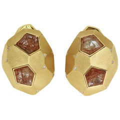 Rutilated Quartz 5.18 Carat Diamonds 18 Karat Yellow Gold Geometry Earrings