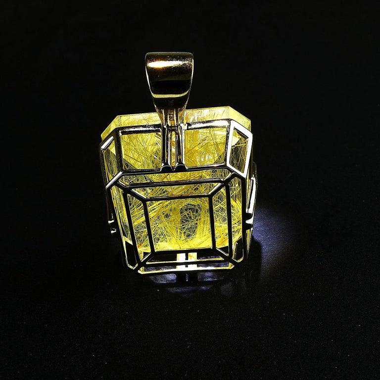 Women's Rutilated Quartz in Yellow Gold Pendant For Sale