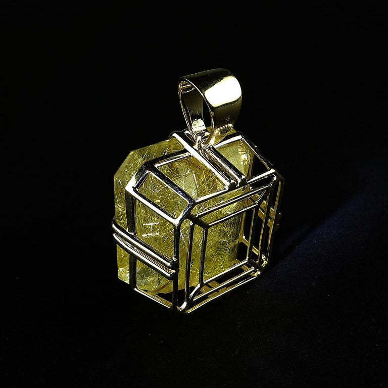 Rutilated Quartz in Yellow Gold Pendant For Sale 1