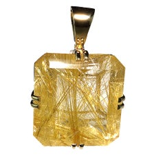 Magnificent Huge Rutilated Quartz in Yellow Gold Pendant