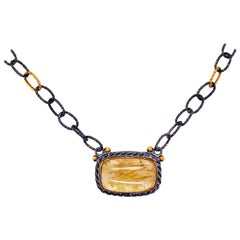 Rutilated Quartz Necklace Designer on Oxidized Sterling and Gold Chain