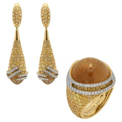 Rutilated Quartz Sapphires Diamonds 18 Karat Yellow Gold Fuji Suite