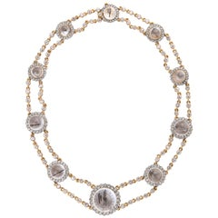 Rutilated Quartz, White Sapphire and Rose Gold Necklace