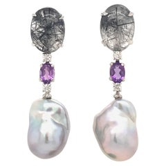 Rutilated Quartz with Diamond, Amethystes and Baroque South Sea Pearl Earrings