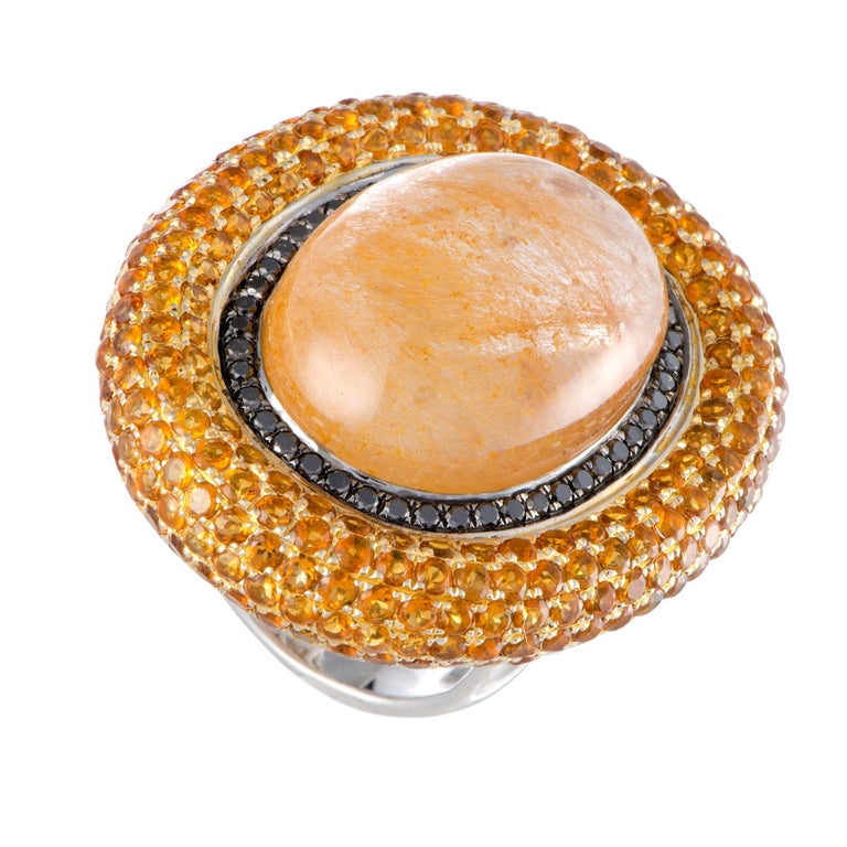 Rutilated Yellow Quartz Black Diamond Citrine Gold Cocktail Ring