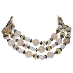 "53"" Long Rutile Quartz Necklace Citrine Freshwater Pearl Necklace"